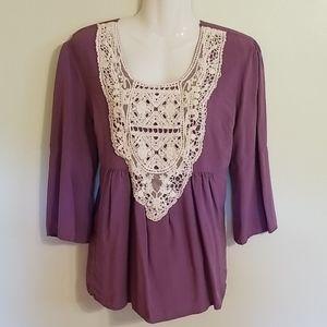 Purple & Cream Lace Babydoll Blouse, Noelle, L/XL,